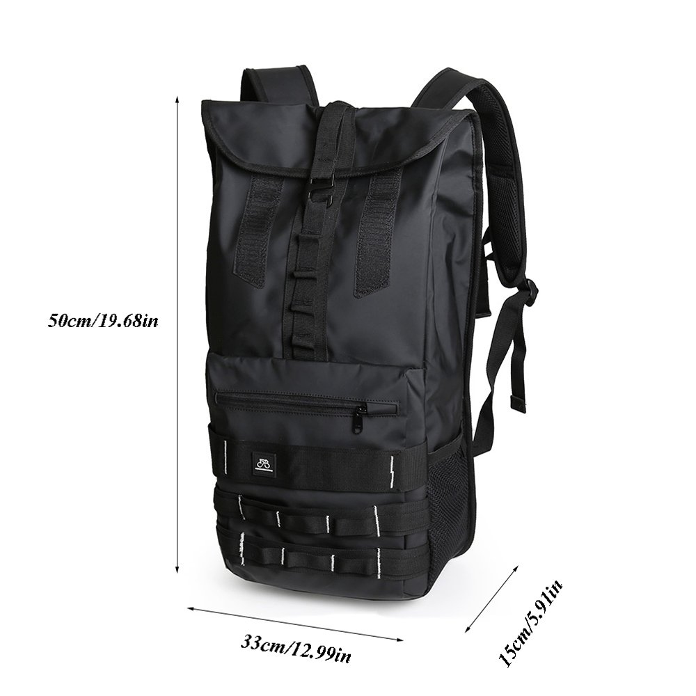 Teng Peng Backpack Male Large Capacity Outdoor Leisure Waterproof Backpack Travel Camping Riding Student Bag Black Backpack