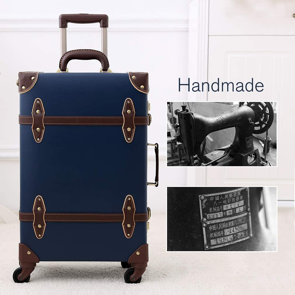Leather Trolley Suitcase Carry-On Luggage with Spinner Wheels for Travel Retro Blue 24
