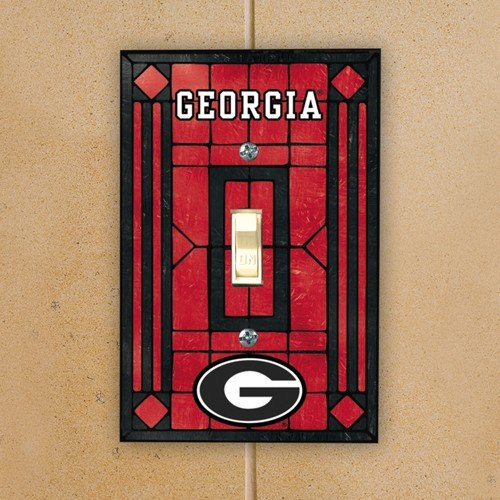 NCAA Georgia Bulldogs Red Art-Glass Switch Plate Cover