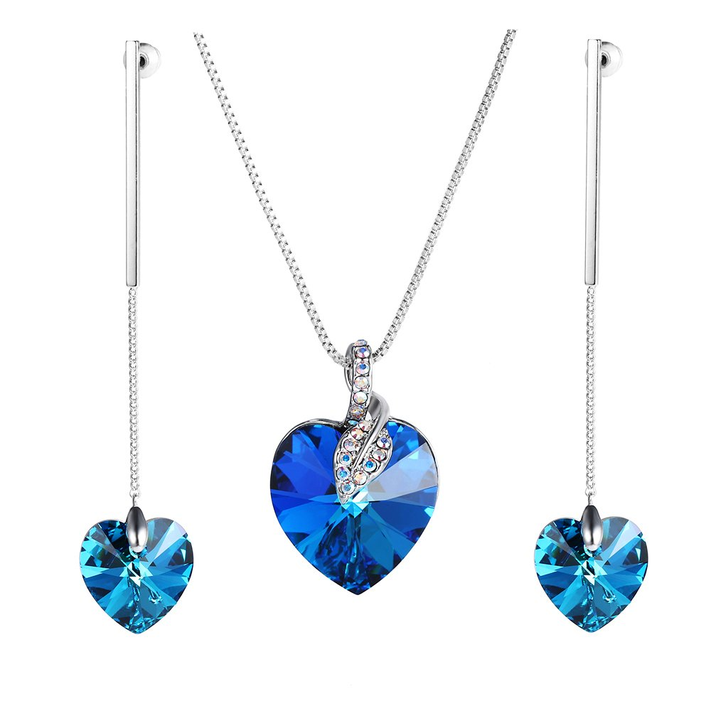 Xuping Fancy Love Heart Pendant Long Earrings with Box Crystals from Swarovski Jewelry Set Women Boxing Day Gifts M42-60043Ca