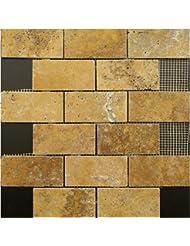 2x4 Gold / Yellow Tumble Travertine Tiles on 12x12 sheets for Backsplash, Shower Walls, Bathroom Floors