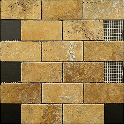 2x4 Gold / Yellow Tumble Travertine Tiles On 12x12 Sheets For Backsplash,  Shower Walls,
