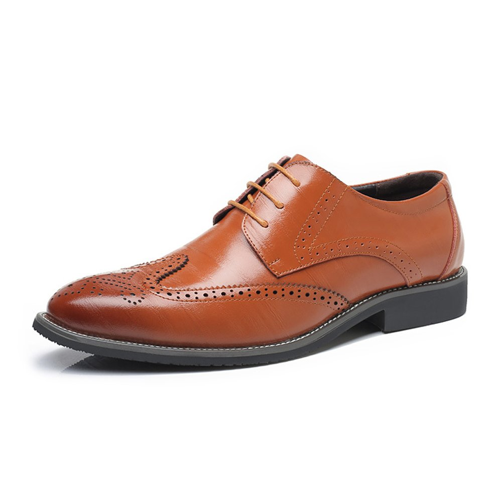 orange shoes Modern Men's Genuine Leather Brogue shoes Wingtip Hollow Carving Lace Up Block Heel Business Lined Oxfords Leather shoes