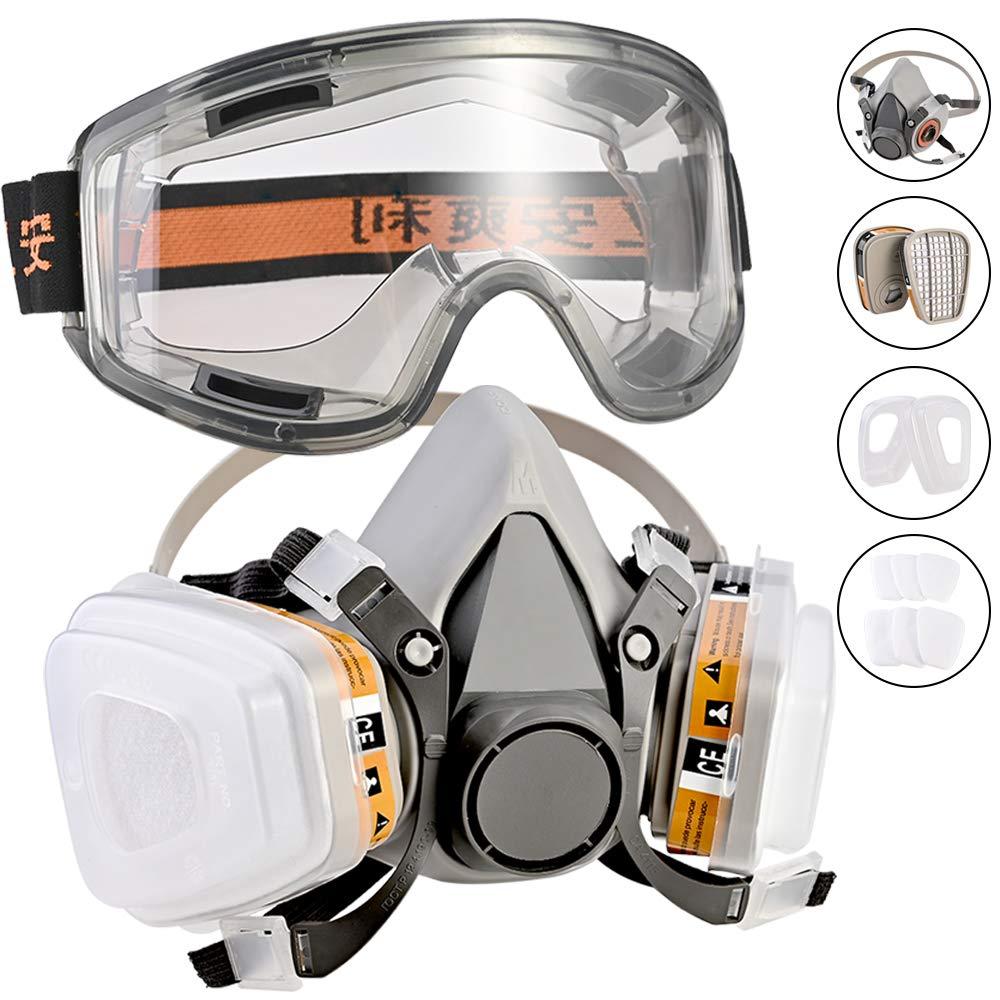 Respirador, Faburo Kit de Máscara de Gas mas Gafas de Seguridad, Semimáscara Antigas Mascarilla Gas Filtros Respirador Protección Respiratoria para Pintura, Polvo, Productos Qu&ia