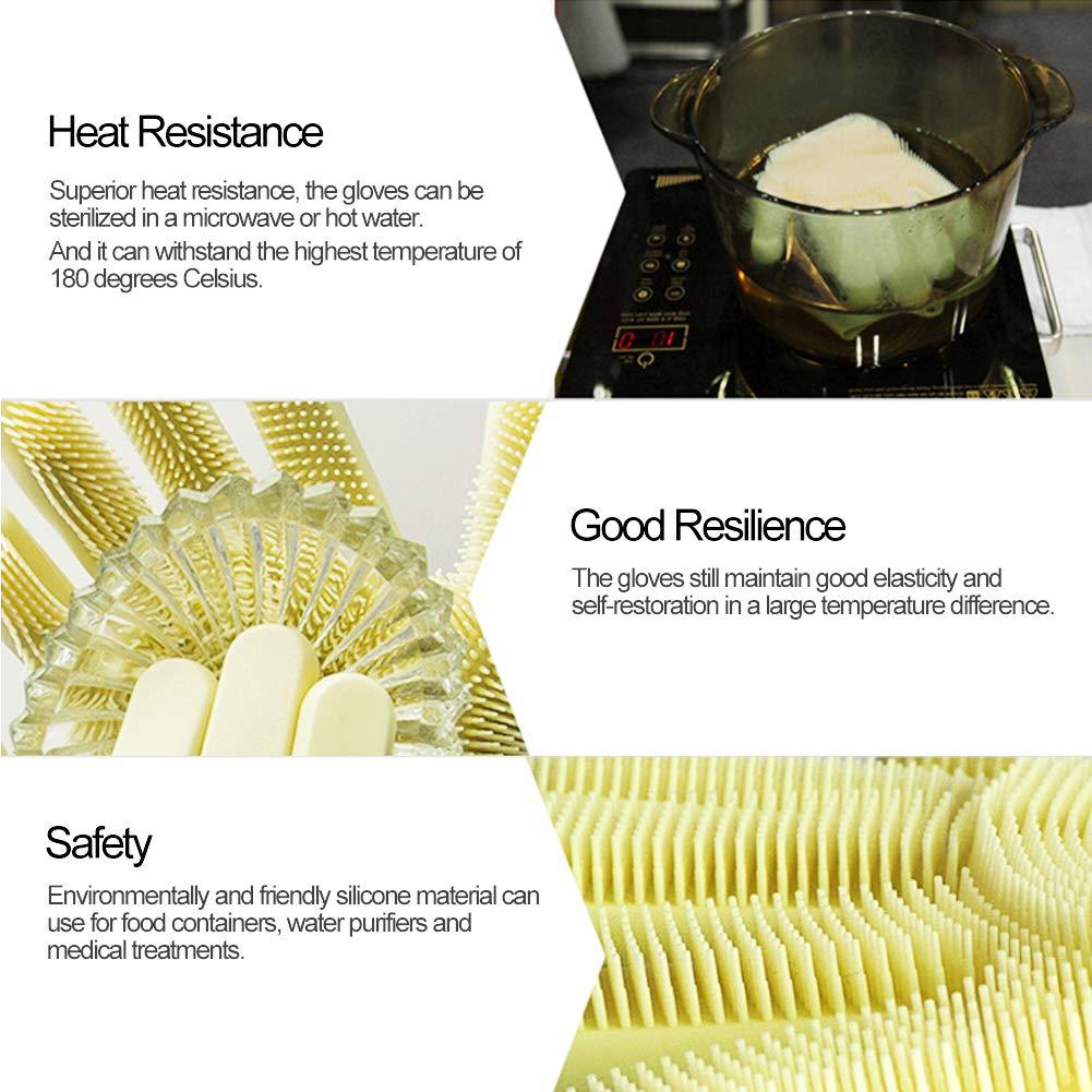 Geschirrsp/ül Handschuhe,1 Paar Mehrzweck-Reinigungshandschuhe aus Silikon mit W/äscher
