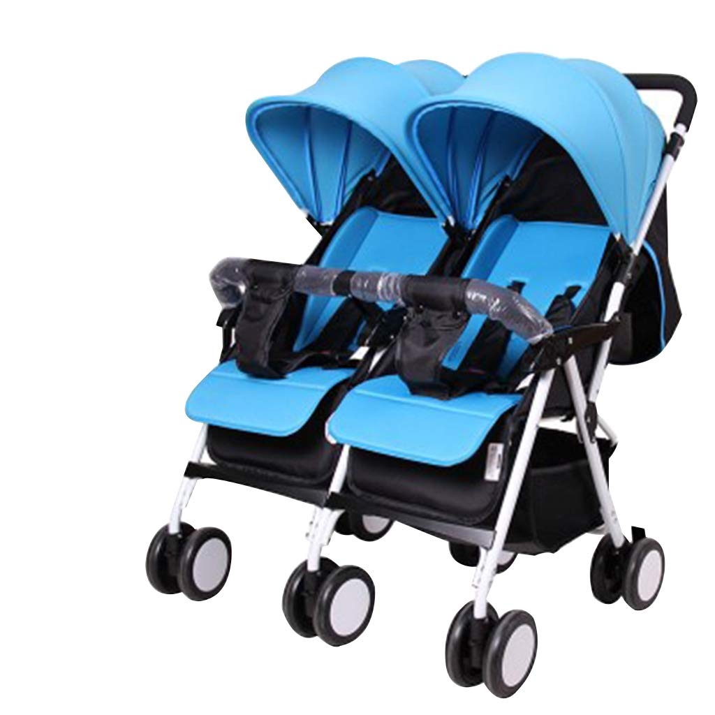 OCYE Foldable Double Seat Baby Stroller/Tandem Double Stroller/5 Point Double Stroller, Light Adjustable backrest Oversized Storage Basket Four Seasons Universal, Blue