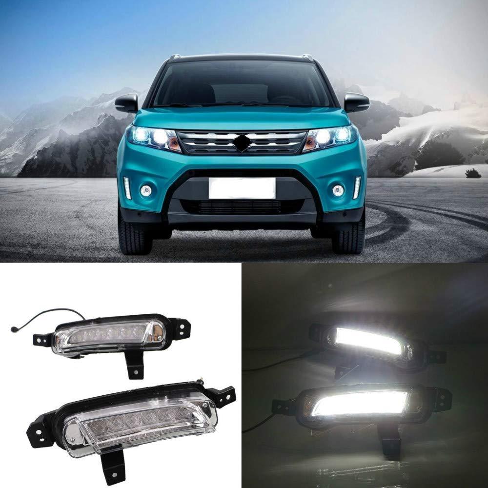 MotorFansClub LED Fog Lamp Daytime Running Light for Suzuki Vitara 2015 2016 Fog Light Cover with Turn Signal(White & Yellow)