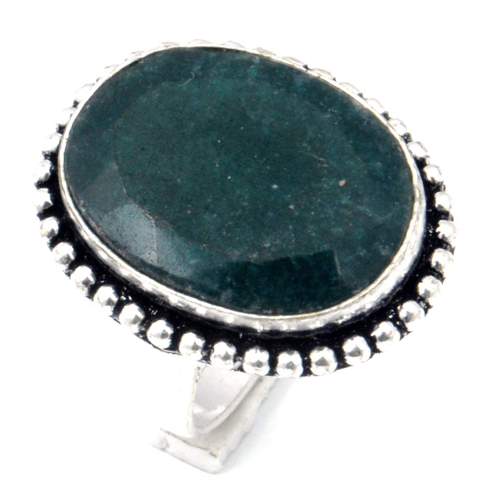Fantasy Green Dyed Emerald Sterling Silver Overlay Ring Size 8.5 US Handmade Jewelry
