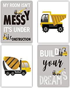 """HPNIUB Construction Trucks Picture Cartoon Construction Transport Vehicle Art Print Set of 4 (12""""X16""""Canvas Funny&Inspirational Words Poster Painting for Nursery or Kids Boy Room Home Decor,No Frame"""