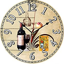 LING'S SHOP Large Vintage Antique Rustic Shabby Chic Wall Clock Home Kitchen Decoration Art (135 Red Wine)