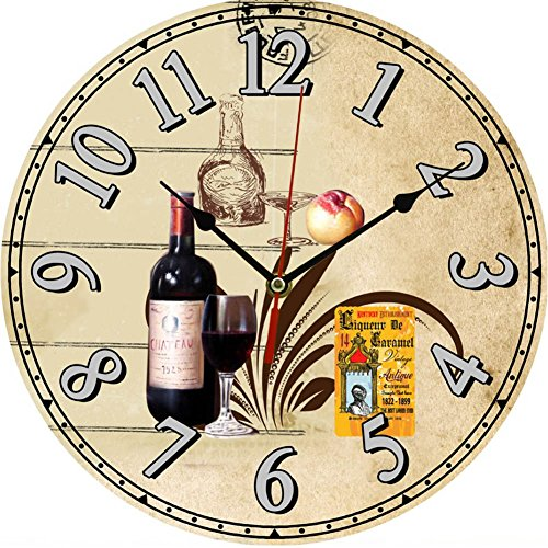 Above Antique Style Clock (Julyshop Vintage Wooden Wall Clock Large Shabby Chic Rustic Kitchen Home Antique Style (135 Red)