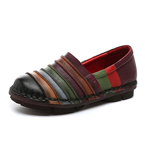 Socofy Slip-On Loafer, Women's Rainbow Leather Casual Loafer Flat Walking  Shoes Driving Loafers