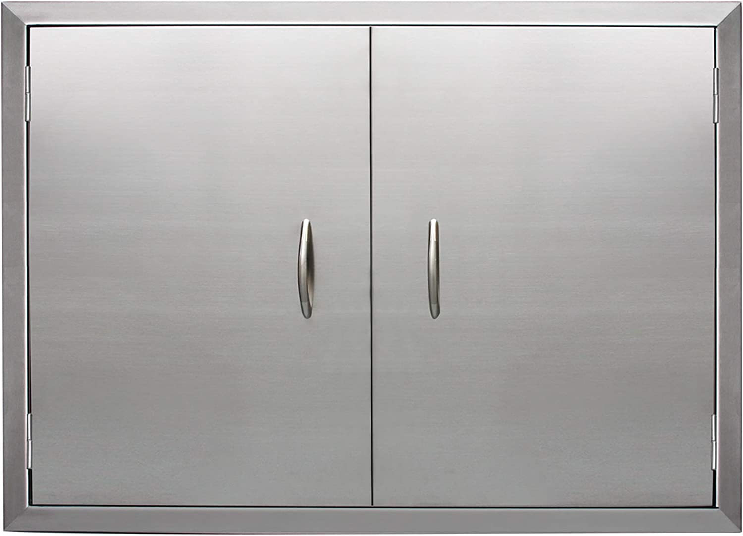 Apwone Outdoor Kitchen Doors Double Bbq Access Doors Removable 304 Stainless Steel Doors With Chromium Plated Handle 31 X 24 Home Improvement