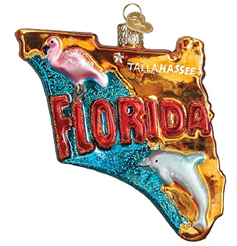 Figural Glass (State of Florida Outline Glass Ornament 36198)