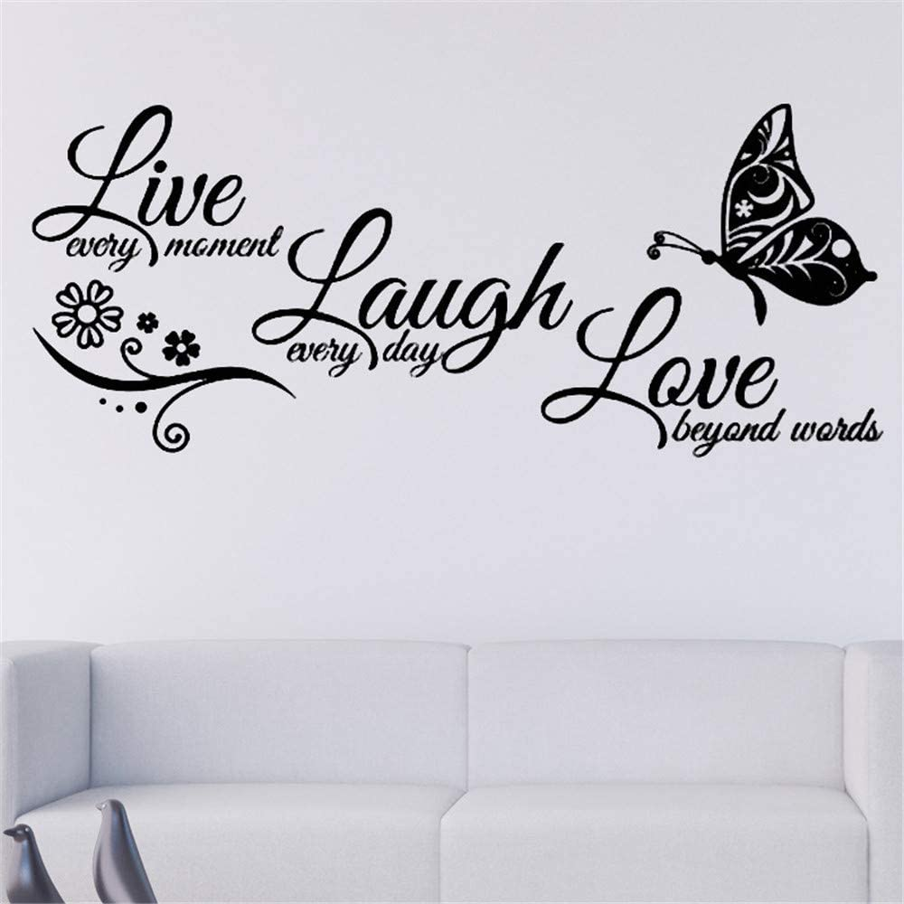 Wall Sticker Live Laugh Love Flower Butterfly Quotes Lettering Sticker Removable Vinyl Decal Art Mural Home Decor DIY Sticker