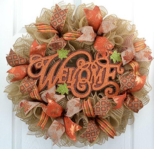 Fall Welcome Autumn Thanksgiving Front Door Outdoor Mesh Wreath; Orange Green Jute Burlap