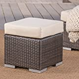 Christopher Knight Home Malibu Outdoor 16 Inch Multibrown Wicker Ottoman Seat with Beige Water Resistant Cushion