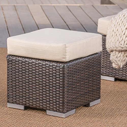 Christopher Knight Home Malibu Outdoor 16 Inch Multibrown Wicker Ottoman Seat with Beige Water Resistant Cushion by Christopher Knight Home