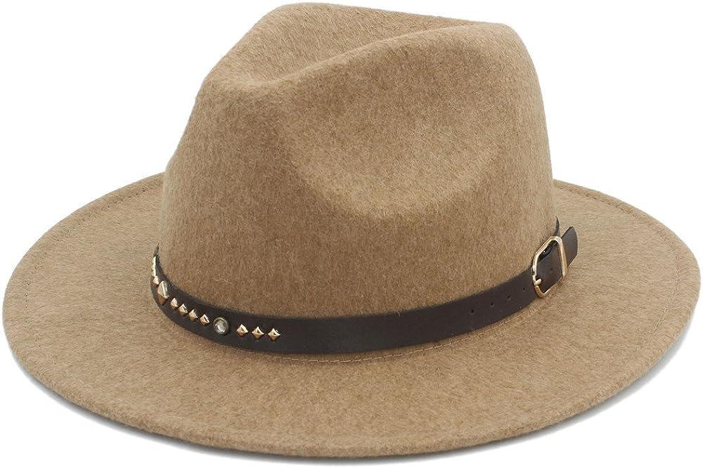 L.Z.H Cap Mens Winter Autumn Fedora Hat with Punk Belt Wide Brim Sombreros Jazz Cap Top Sun Hat Hat