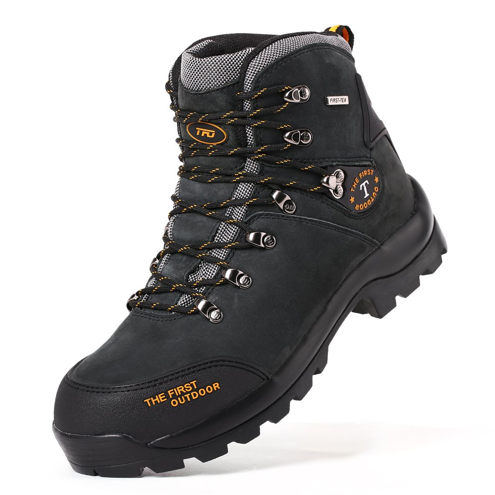 TFO Women Mid Hiking Boots Waterproof Breathable Leather Outdoor Sneaker (US 6, Black)