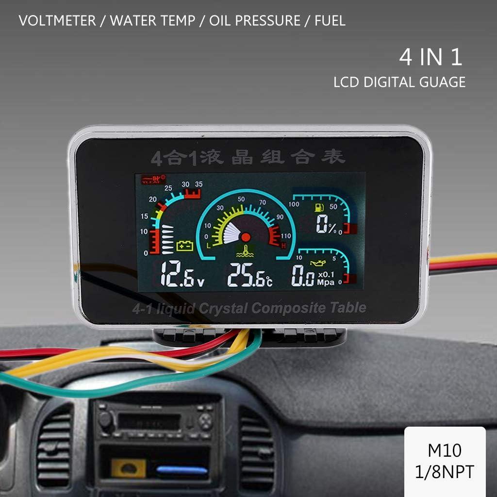 Bilinli 4 In 1 Lcd Auto Digital Alarm Gauge Voltmeter öldruck Kraftstoff Wassertemperatur 12 24v Amazon De Küche Haushalt