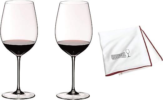 Riedel Sommeliers Bordeaux Grand Cru Lot de 2 avantages avec chiffon en verre 244000 + 501007