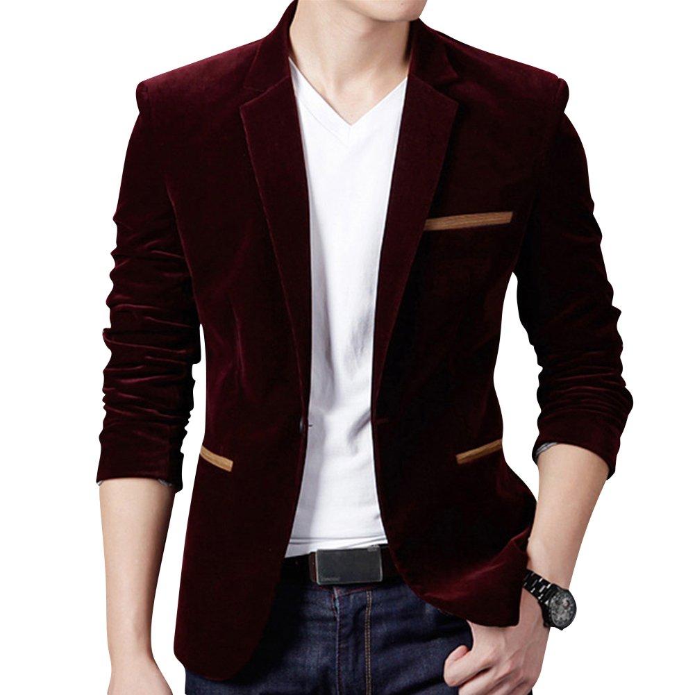 Uomo Casuale Un pulsante Cappotto Velluto a Coste Slim Fit Giacca Blazers  Outwear e075e2ad376
