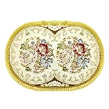Wrapables Oval Vintage Floral Placemat with Gold Embroidery, 18.5 by 13-Inch, Romantic Pink