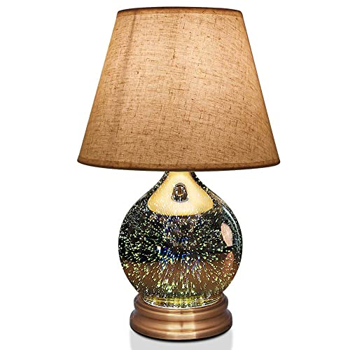Table Lamp,Desk Lamp with Bulb Included – Modern Lamp with Unique Lampshade,Handmade 3D Effect Glass Base – Perfect for Table in Bedroom,Bedside,Living Room,Office Table Lamp Aladdin