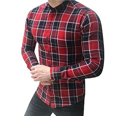 YEBIRAL Camisetas Hombre Manga Larga Slim Fit Celosía Estampado ...