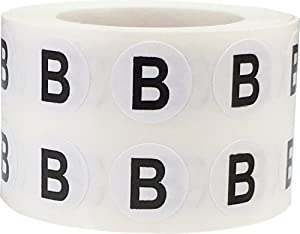 Letter B Inventory Labels .5 Inch Round Circle Dots 1,000 Adhesive Stickers