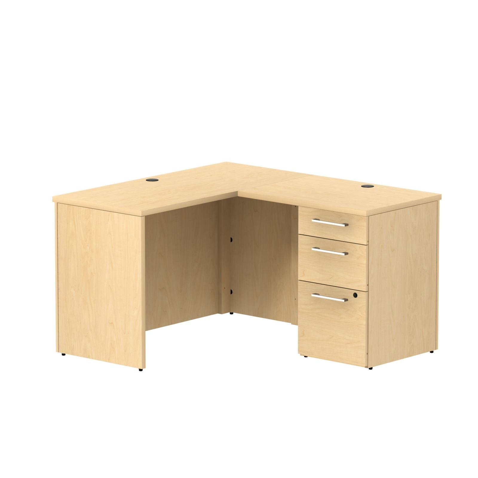 Bush Business Furniture 300 Series 48W x 22D Shell Desk in L-Configuration with 3 Drawer Pedestal