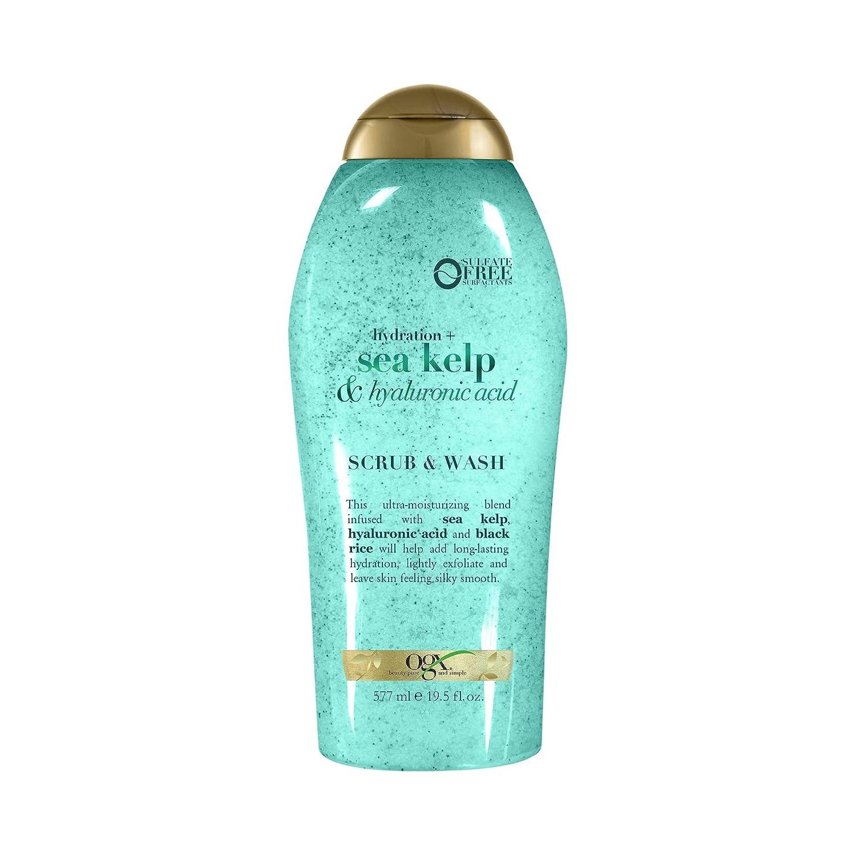 OGX Hydration + sea kelp & hyaluronic acid exfoliating body scrub, 19.5 Ounce : Beauty