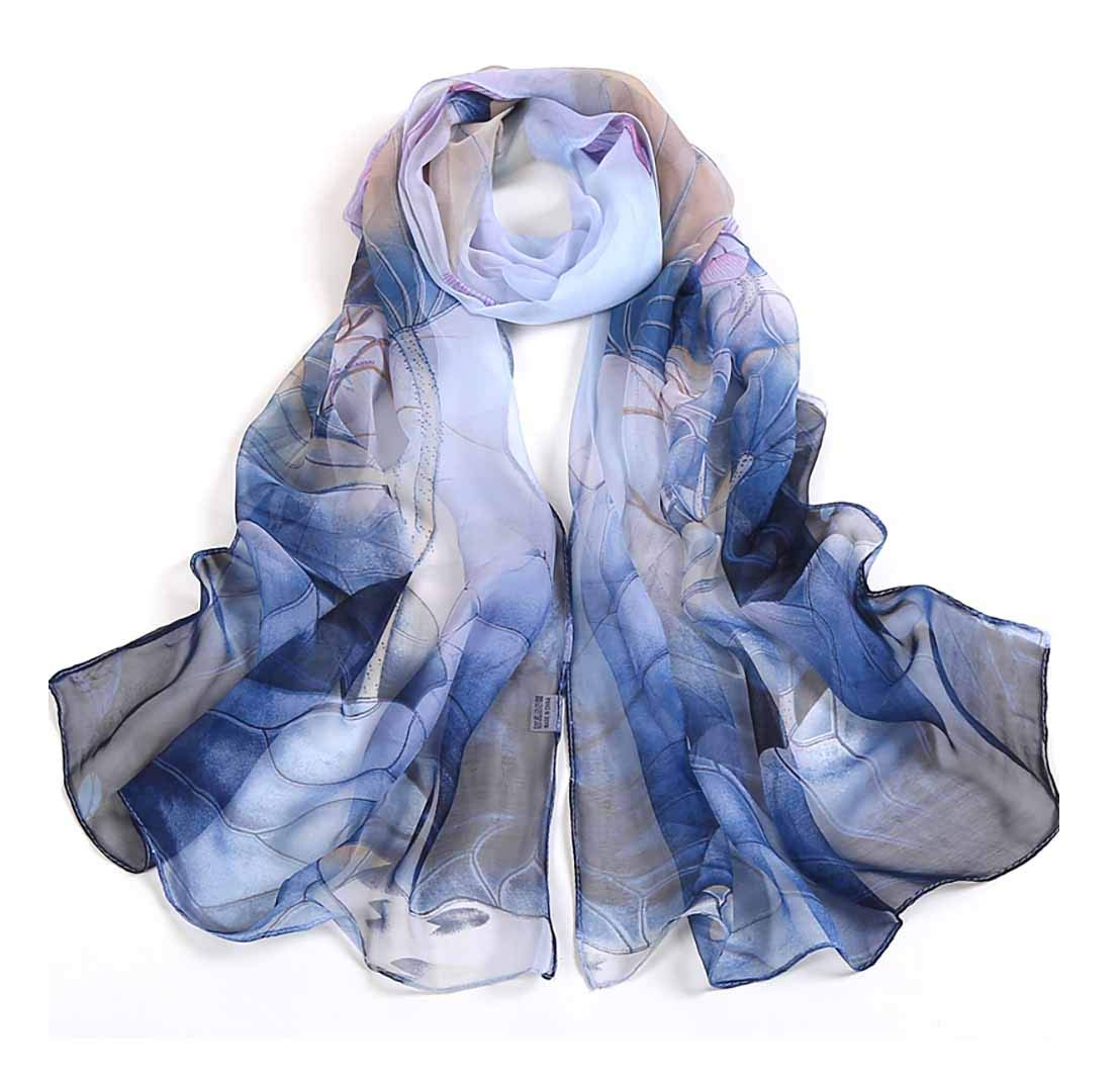 Print Silk Feeling Scarf Fashion Scarves Lightweight Shawl Scarf Sunscreen Shawls for Womens