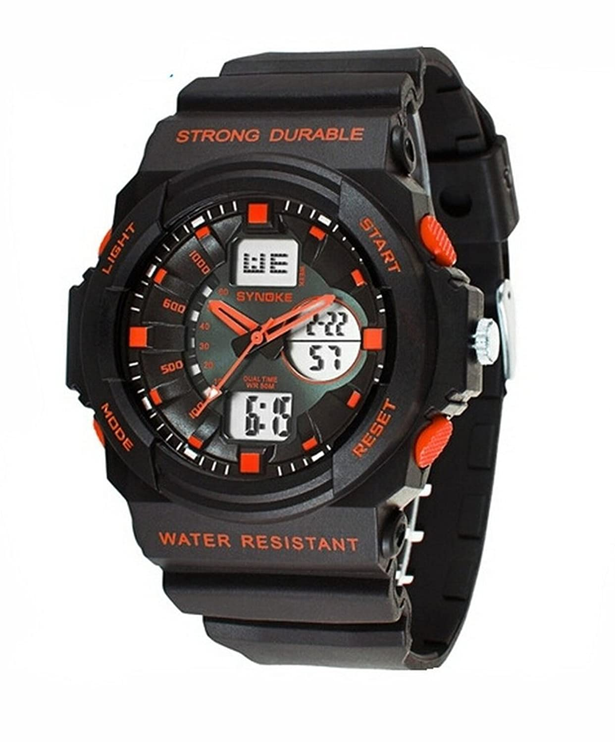 Cool Waterproof Digital Analog Sports Watches For Age 7-15 Years old Boys Girls Youth Black+Orange