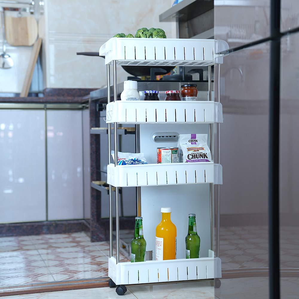 4 Tier Slim Storage Cart Mobile Shelving Unit Slide Out Storage Tower for  Kitchen Bathroom Laundry Room Narrow Places(White)