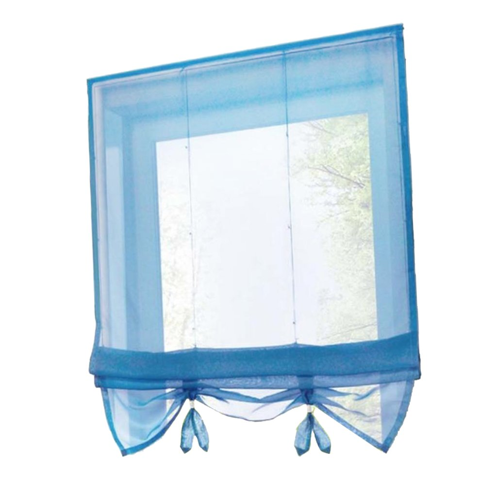 non-brand MagiDeal Rod Pocket Roman Curtains - Tie Up Shade, Window Sheer Voile Valance Blinds - Blue 60x155cm, as described