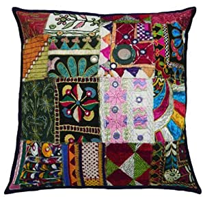 """Arte decorativo Patchwork Funda de almohada Multicolor india tradicional del amortiguador de la cubierta de regalos 18 """" pulgadas"""