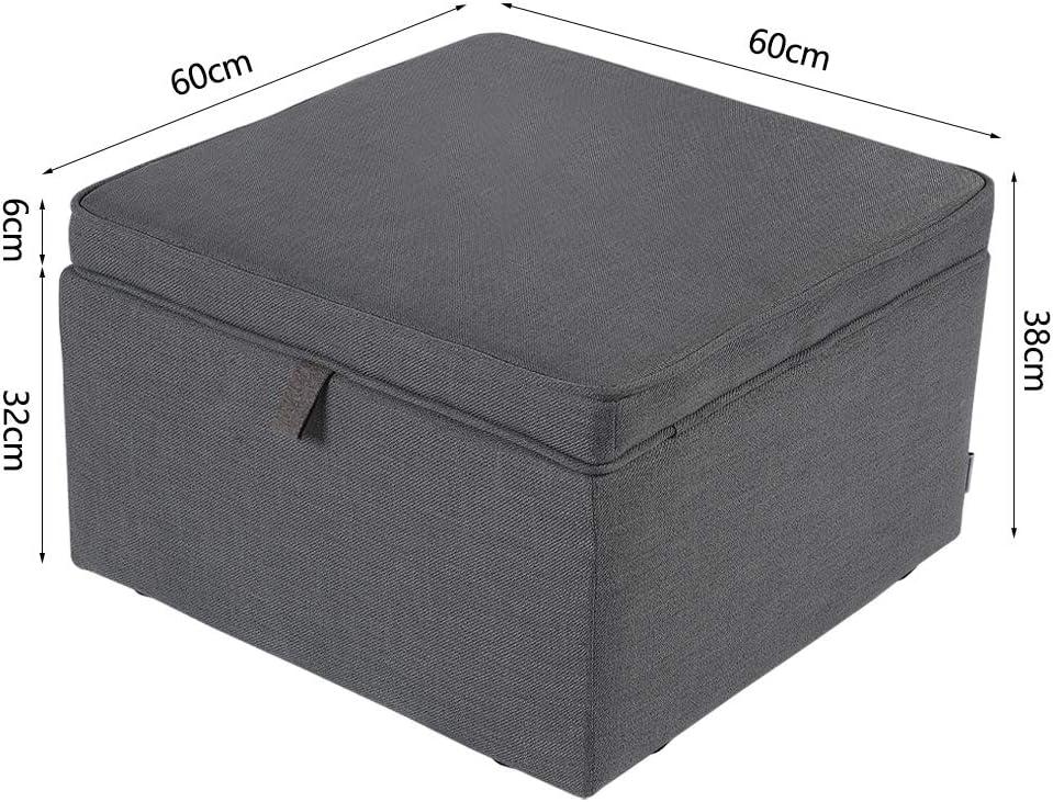 Warmiehomy Indoor Square Footstool Pouffe Storage Large Living Room Bedroom Furniture 60 38CM 60