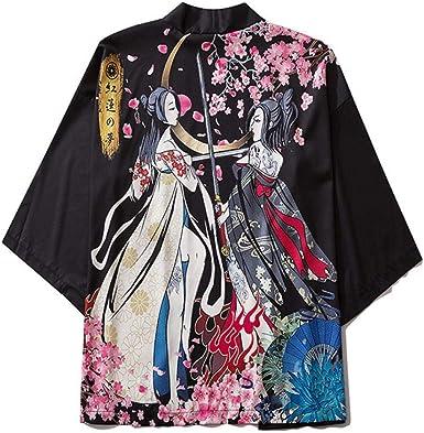 LYH Moda Japonesa Anime Estilo Ballena Estampado Kimono ...
