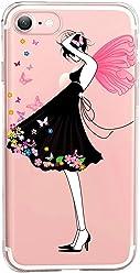 Girlscases® | iPhone 8/7 Hülle | Im Mädchen - Blumen Motiv Muster | in rosa pink | Fashion Case transparente Schutzhülle aus Silikon