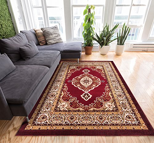 Sephan Red Traditional Oriental Sarouk Medallion 9x13 ( 9'3