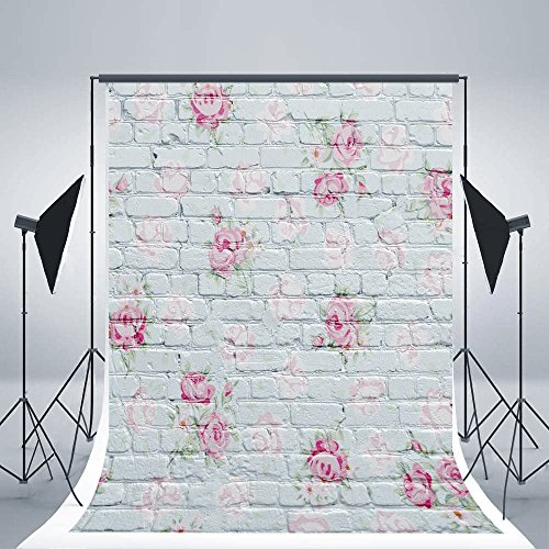 DODOING 3x5ft White Brick Wall Photography Background Photo Backdrops Pink Flowers Wall Studio Props for Baby Newborn