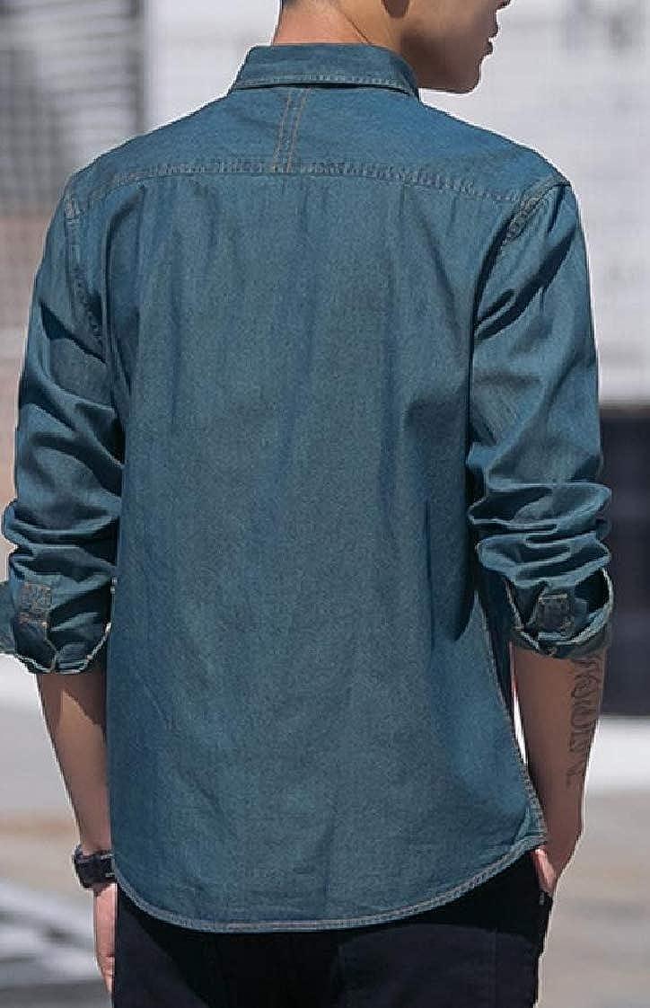 Pandapang Men Denim Classic Tops Long Sleeve Turn Down Button Up Shirts
