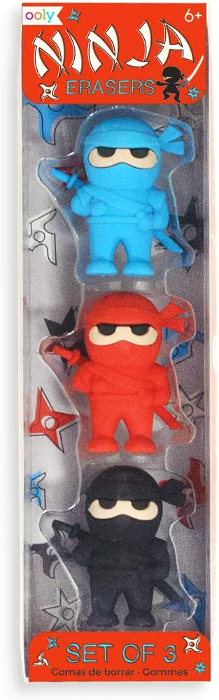 """Ooly Ninja Erasers - Set of 3 - Blue, Red, and Black Colors - 1.75"""" Tall"""