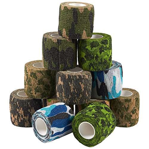 Self Adherent Wrap - 12 Pack of Camo Cohesive Bandage Medical Vet Tape for First Aid, Sports, Wrist, Ankle in 6 Assorted Camouflage Colors, 2 Inches x 5 Yards (Adhering Self Elastic)
