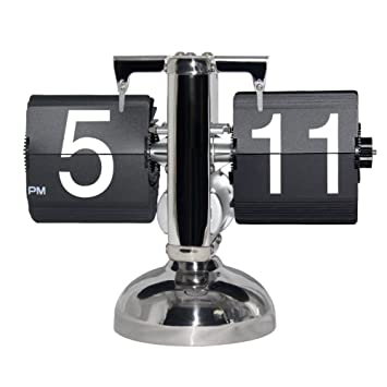 KABB Reloj Flip Retro de Números, Relojes de Sobremesa Modernos, Retro estilo exquisito y artístico - Maquinaria Interna (Negro): Amazon.es: Hogar