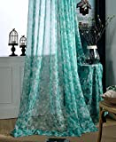 ASide BSide Modern Style Floral Printed Rod Pocket Top Sheer Curtains Voile Draperies Elegant Door Home Treatment For Kitchen Houseroom and Children Room (1 Panel, W 52 x L 84 inch, Turquoise)