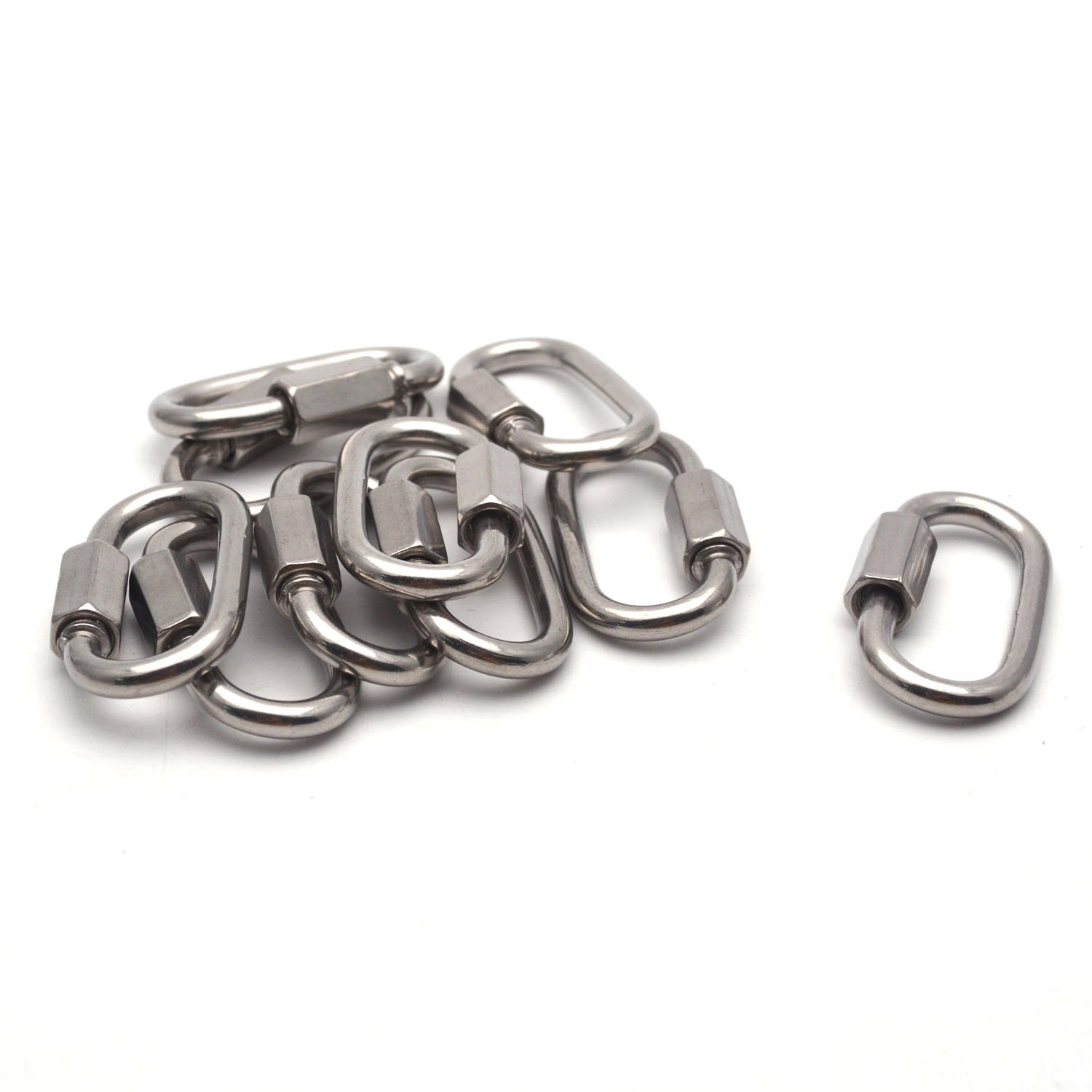 Antrader 304 Stainless Steel D Shape Quick Link Carabiner Oval Screwlock Chain Connector