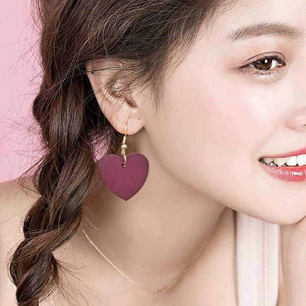 YOOE Retro Claret Woodiness Peach Heart Love Earrings,Natural Wood Long Chain Geometric Love Pendant Earrings for Women Girls